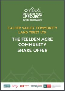 Calder Valley CLT Fielden Acre Share Offer document cover, Todmorden