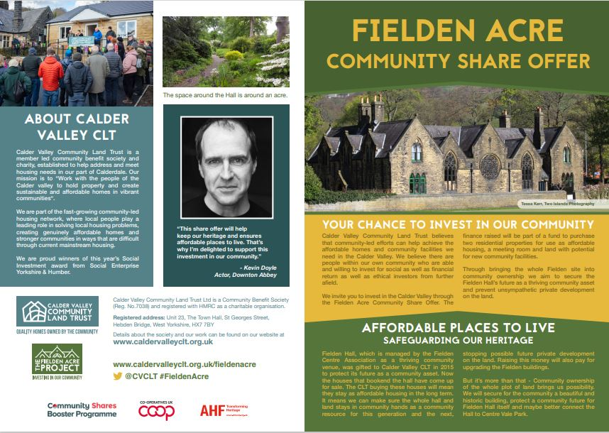 Fielden Acre Community Share Offer leaflet cover