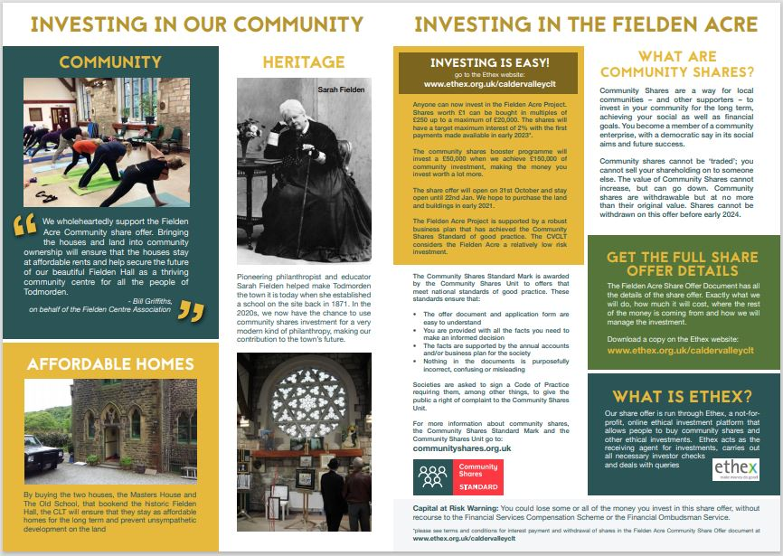 Fielden Acre Community Share Offer leaflet inside spread